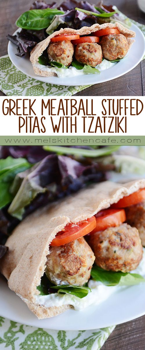 Greek Meatball Stuffed Pitas with Easy Tzatziki Sauce