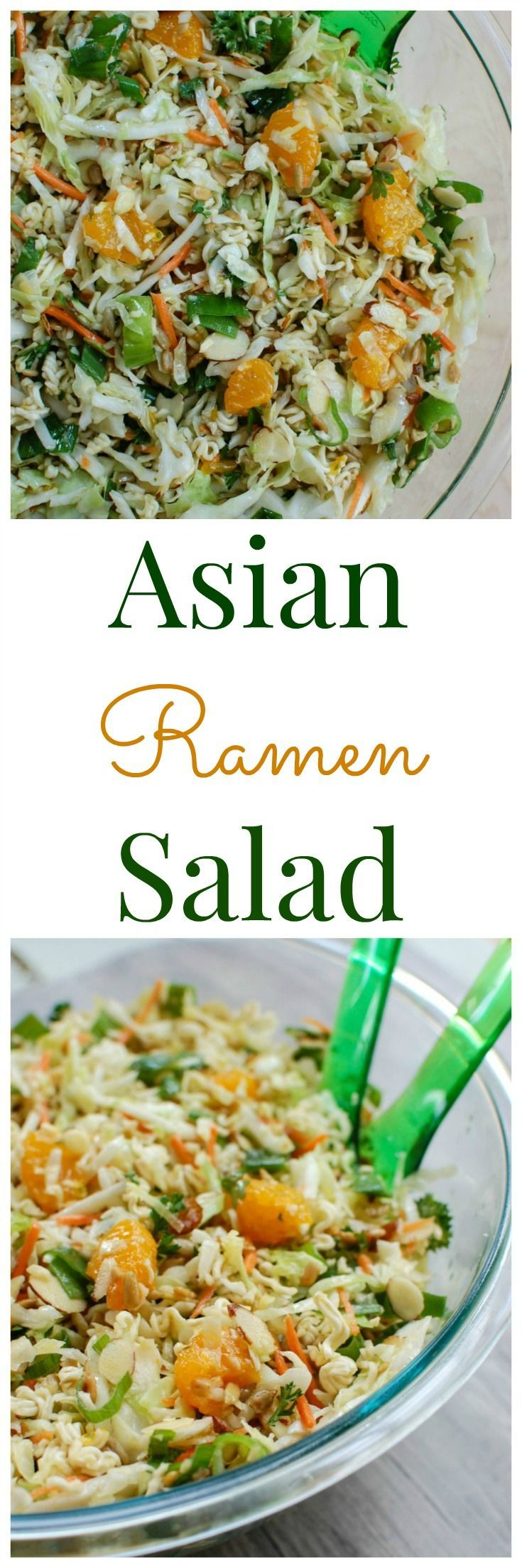 Asian Ramen Noodle Salad is sure to be a big hit at your next BBQ or picnic. This salad has nice crunch for the ramen noodles that are mixed with the coleslaw, green onions, almonds, sunflower seeds, mandarin oranges, fresh parsley and topped with a light dressing. // A Cedar Spoon