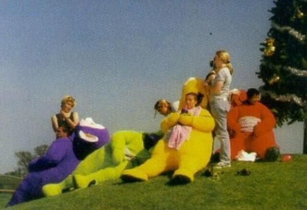Teletubbies having a lunch break on the set