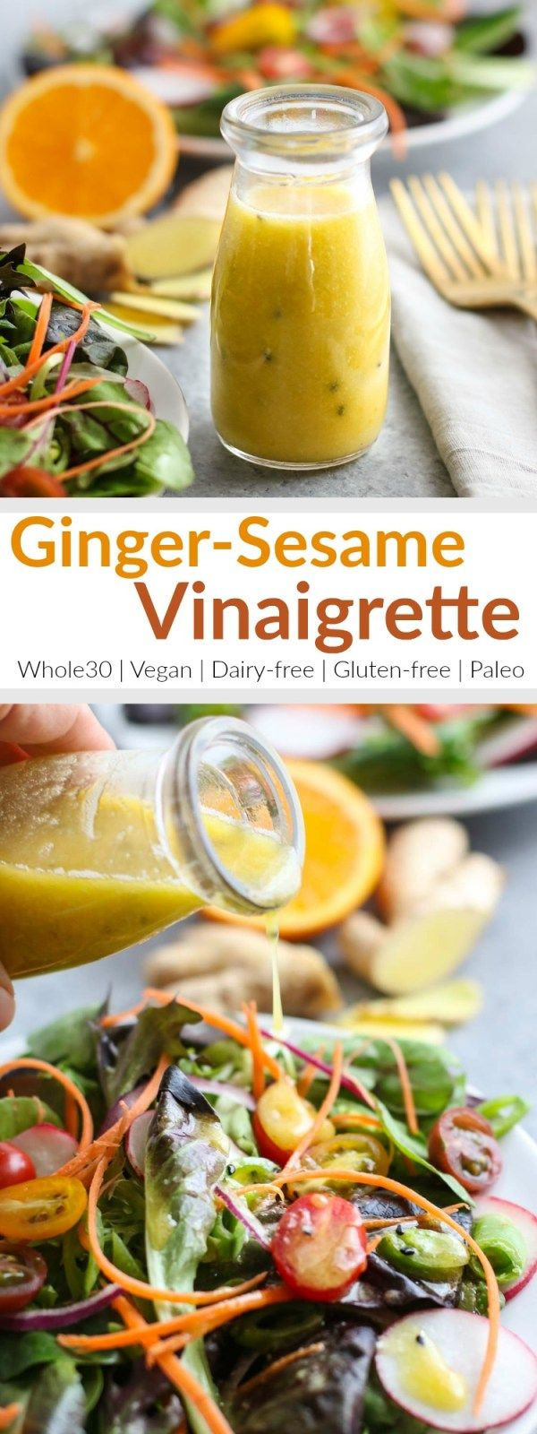 Uplevel your next salad with this Ginger-Sesame Vinaigrette! | Drizzled over salad greens or tossed with shredded Napa cabbage, this light and slightly sweet dressing gives everything it touches a sunny punch of flavor. | Whole30 | Paleo | Vegan | Dairy-free | Gluten-free | https://therealfoodrds.com/ginger-sesame-vinaigrette/