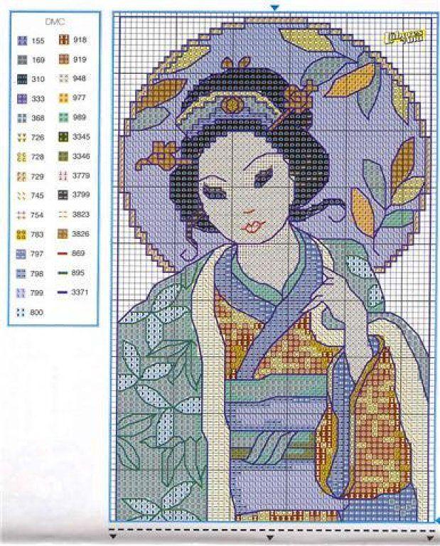 Patrones y esquemas gratis: 3 geishas