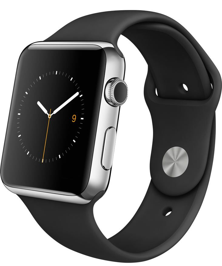 Apple Watch —42mm Stainless Steel Case with Black Sport Band.