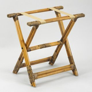 Rattan Luggage Rack with Brown Cloth Straps - tropical - clothes racks - by Fine Folding Furniture