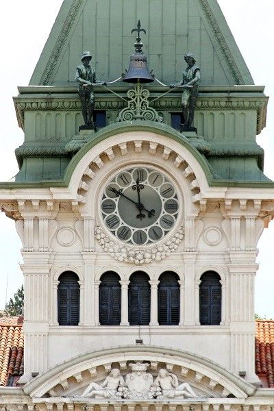 Clock tower of Town Hall in Treiste, Italy
