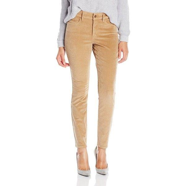 NYDJ Women's Petite Jade Corduroy Legging Fit Pants In Butterscotch ($110) ❤ liked on Polyvore featuring pants, petite, zipper pants, nydj pants, cordoroy pants, petite trousers y zip pants