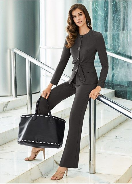 Belted pant suit set in 2019  30ee5b6df10a
