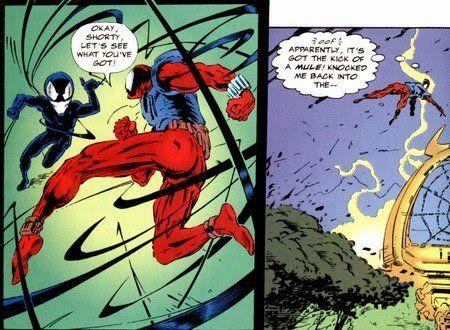 #Simbionte en la sudadera de la araña escarlata  En Planeta de Simbiontes, se descubre que la araña negra que tiene la Araña Escarlata en  su sudadera, es en realidad un pequeño simbionte.
