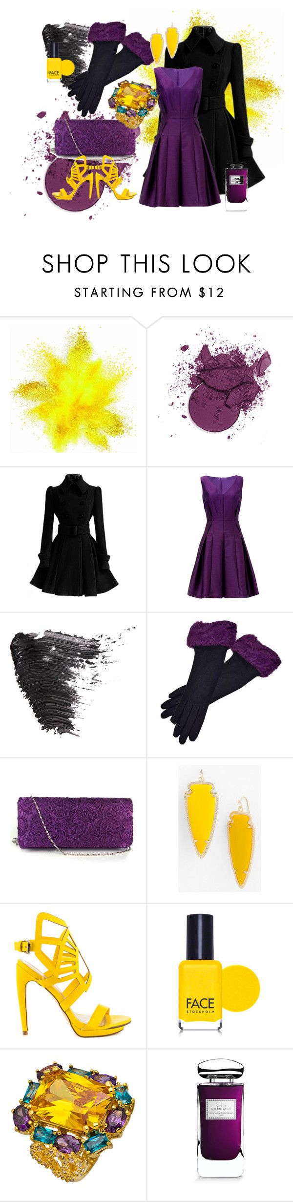 """Purple & Yellow Formal Night Out"" by goldenopal ❤ liked on Polyvore featuring Carmen Marc Valvo, Topshop, Chanel, Kendra Scott, Penny Loves Kenny, FACE Stockholm and By Terry"