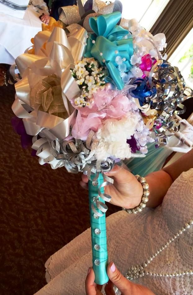 Bow bouquet for wedding rehearsal, made from bridal shower bows & ribbons!  https://www.etsy.com/listing/190186072/bow-bouquet-kit-for-bridal-shower? #sentimentally