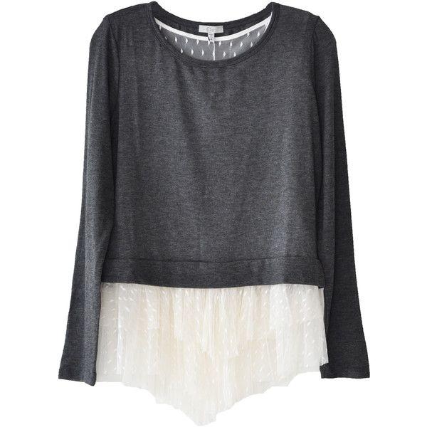 Clu Tulle Detail French Terry Sweatshirt (5.240 UYU) ❤ liked on Polyvore featuring tops, hoodies, sweatshirts, shirts, sweaters, long sleeve shirts, crewneck shirt, frilly shirt, polka dot top and polka dot shirt