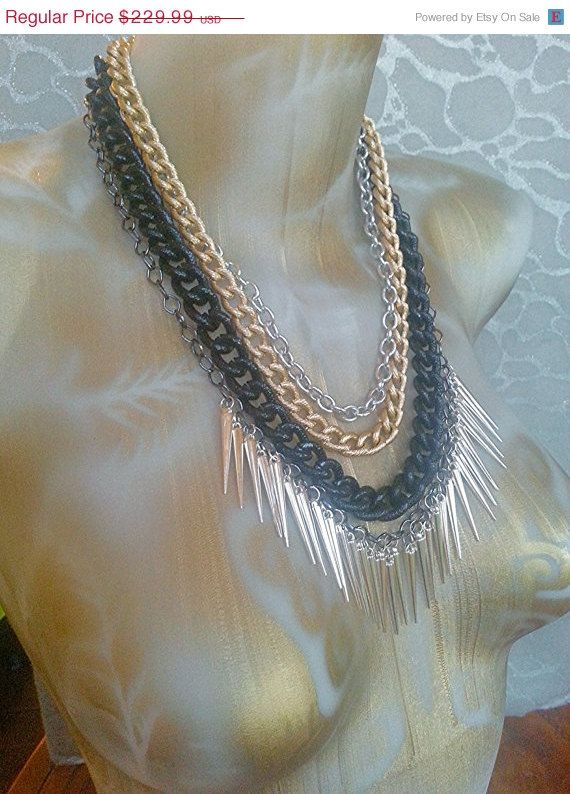 ONE THIRD OFF Mixed Large Link Chains in Silver Gold Black and Gunmetal with Silver Spike Fringe -chunky 4 layered necklace statement ooak by MEDICINAdesigns