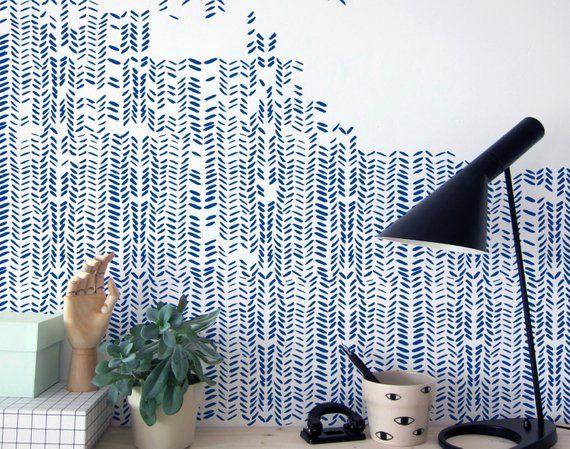 Herringbone Wall Stencils Wandgestaltung In 2019