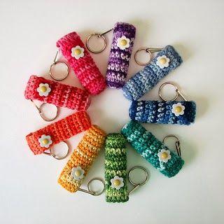 Free Crochet Chapstick / Lip Balm Holder Keychain Pattern - one for you to make @Tessa McDaniel McDaniel McDaniel James