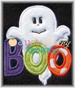 Boo+with+Ghost+saying+for+Halloween+Applique+by+JustPeachyApplique,+$4.00
