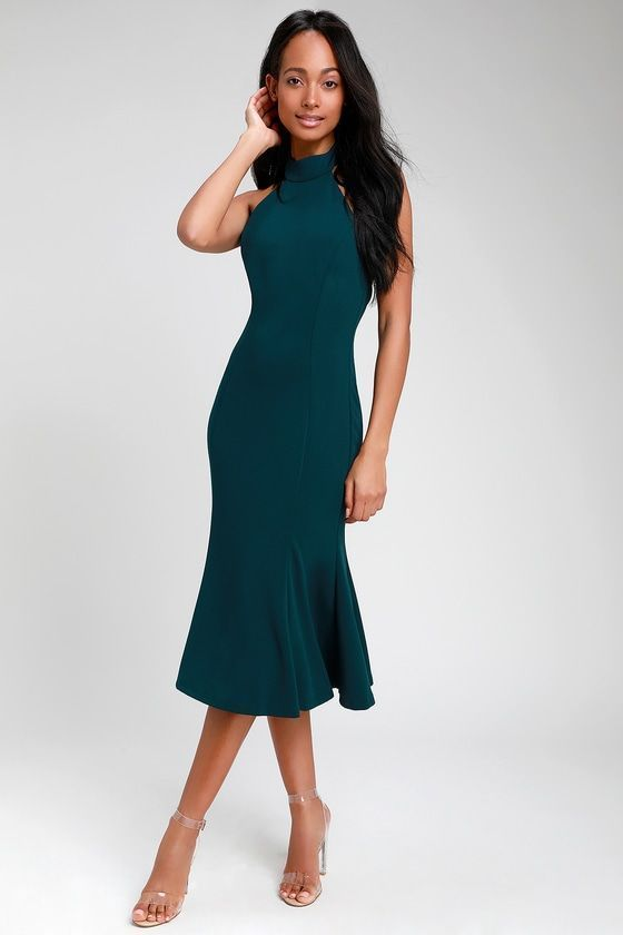 b39d04f4101a CHERISHED CHARM DARK GREEN BACKLESS MIDI DRESS | Dresses | Dresses ...