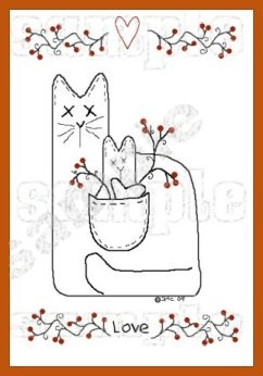Stitchery/Painting Pattern #4  Primitive Cat