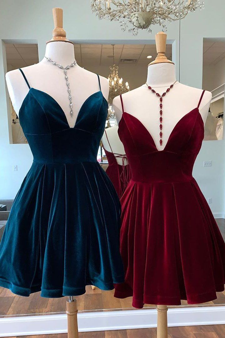 Tie Back Straps Velvet Navy Homecoming Dress