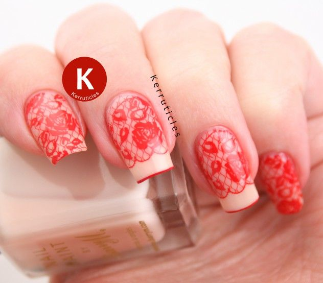 Red lace nails using Moyra Lovelace and Moyra SP.02 (red) stamping polish