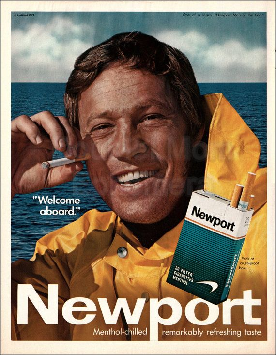 1970 Vintage Newport Cigarettes Print Ad// Vintage Cigarette Ads of the 1970s // Sea Captain Fisherman Fishermen Wall Art // Nautical Art