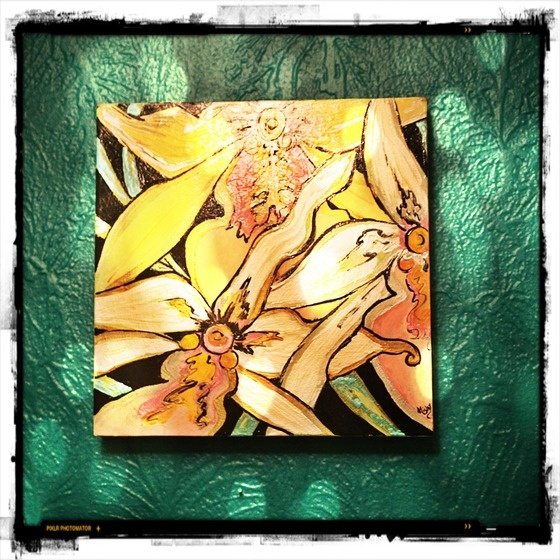 """{Orchid Frenzy} Original Acrylic Painting on 12 x 12"""" Canvas"""
