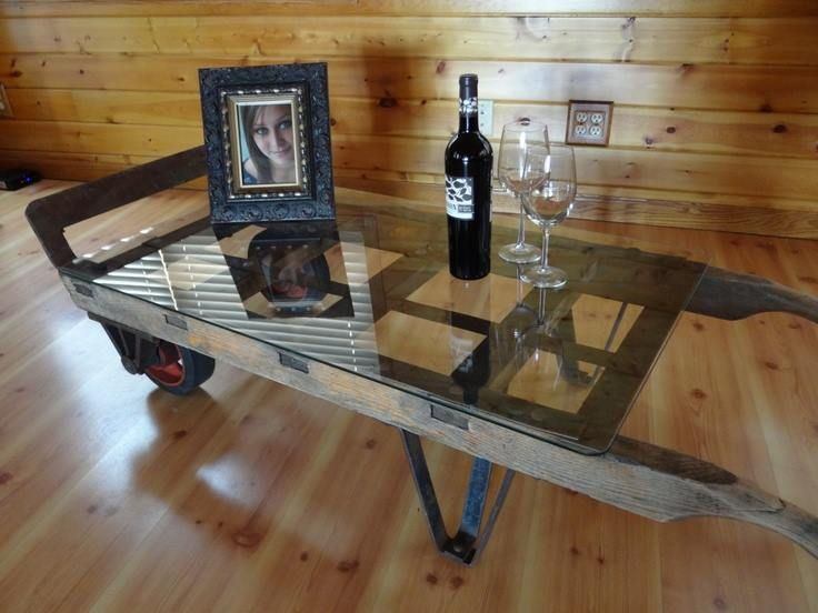 Antique hand cart (sack truck) made into a coffee table ~ clever!  I love this!!!!
