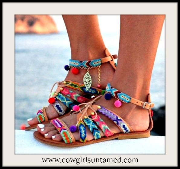 FABULOUS BOHEMIAN COWGIRL SANDALS!! Multi Color Embellished Tan Lace Up Boho Sandals  #bohemian #gypsy #boho #sandals #shoes #laceup #embellished #buckle #charms #pompom #embroidery #boutique #fashion #ontrend #style #flats #wholesale #cowgirlsuntamed