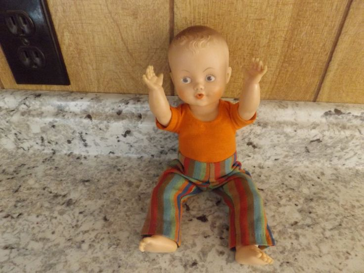 Vintage Vinyl Boy Baby Doll with Molded Hair / Original Clothes / Story Book Doll by jandhcollectibles on Etsy