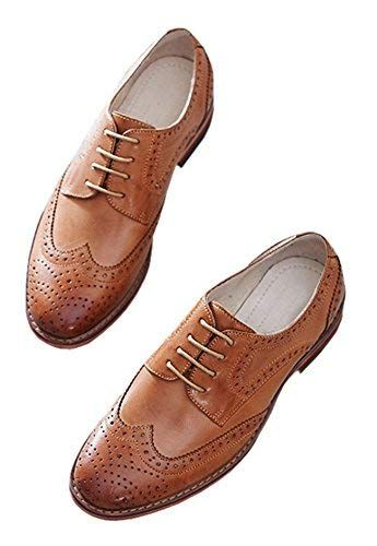 230a38b3f6 U-lite Women's Perforated Lace-up Wingtip Pure Color Leather Flat Oxfords  Vintage Oxford Shoes