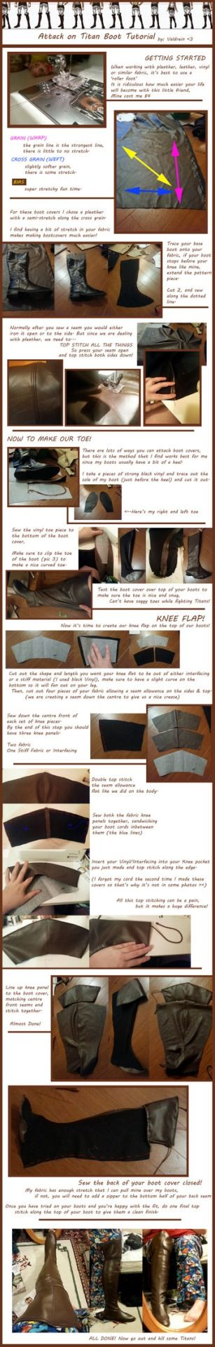 Attack on Titan Boot Cover Tutorial by  Valdrein See the full tutorial at: http://valdrein.deviantart.com/art/Attack-on-Titan-Boot-Cover-Tutorial-405463439