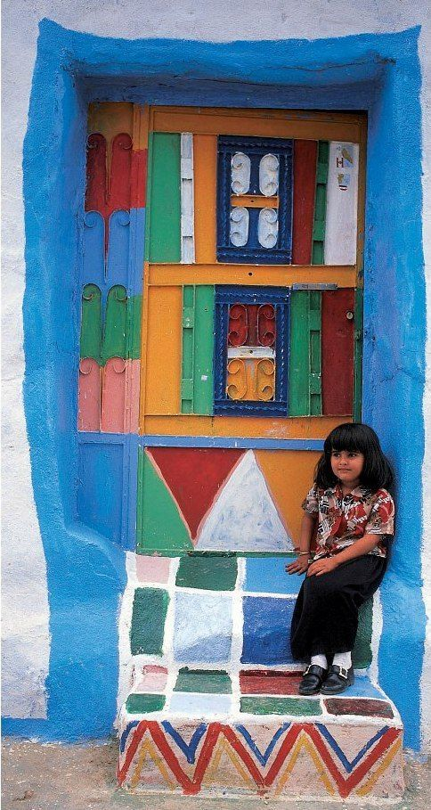 ( - p.mc.n. ) Colorful door from Asir region Saudi Arabia
