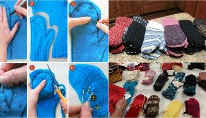 Ένας γρήγορος και εύκολος τρόπος για να μετατρέψει παλιά πουλόβερ σε ζεστό, φιλόξενο Γάντια