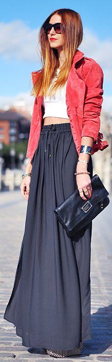 126 best images about Grey Maxi Skirt on Pinterest | Denim jackets ...