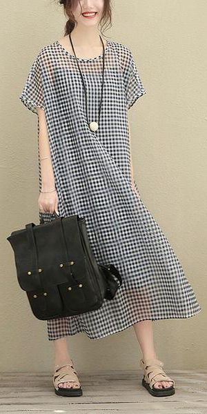 57994db489e BIG SIZE PLAID LONG LOOSE POLYESTER TWO PIECE DRESS WOMEN CLOTHES ...