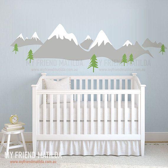Snow Mountain Scandinavia Design Wall Decal Sticker for Modern Nursery