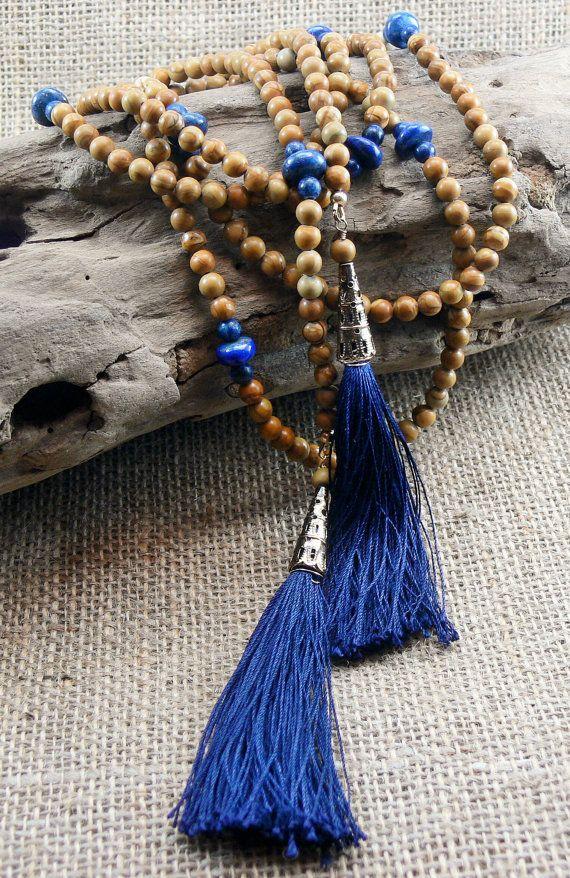 Boho Tassel Lariat Necklace  Navy blue lapis by MMDJewellery