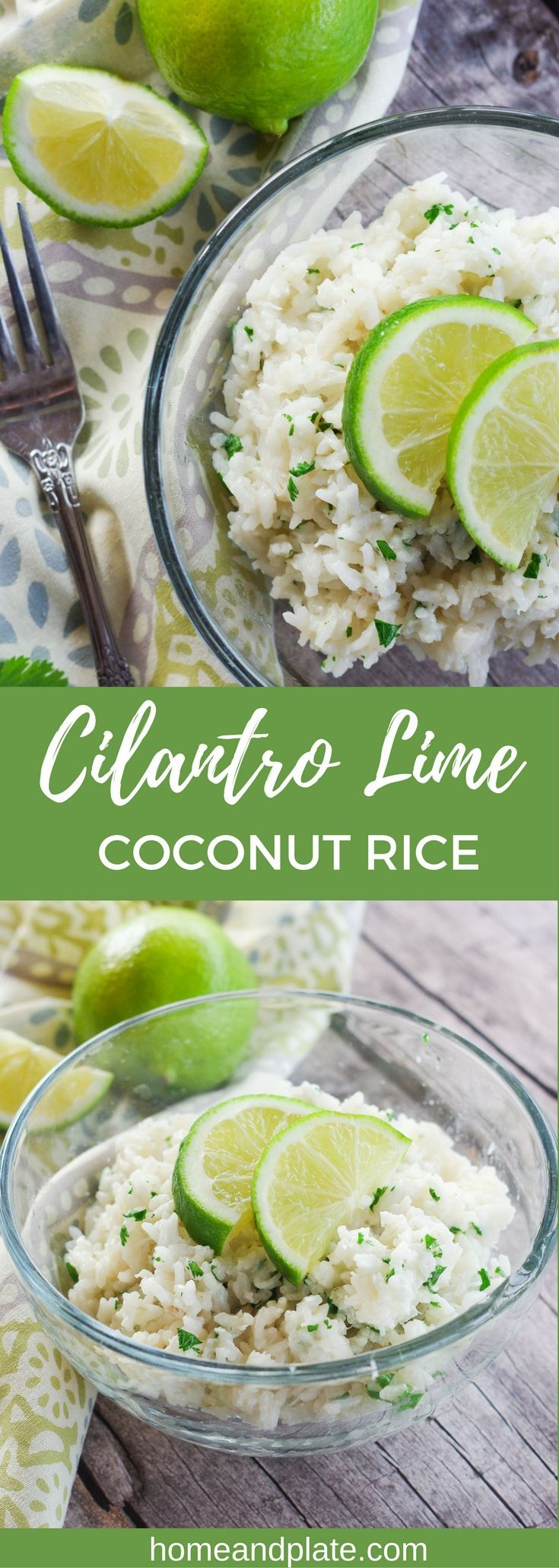 Cilantro Lime Coconut Rice | www.homeandplate.com | This easy rice recipe is cooked in coconut milk and flavored with fresh lime juice and cilantro. It's the perfect side dish to any Caribbean dinner.