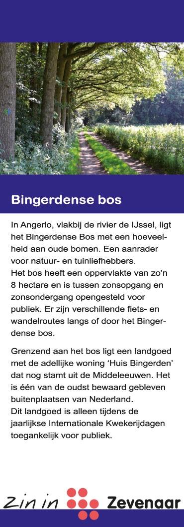 Het Bingerdense Bos, waar grenzend aan het bos huis Bingerden staat, in Angerlo (gemeente Zevenaar). Blad uit de rubriek 'Recreatiegebieden' van de Zin in Zevenaar-waaier.