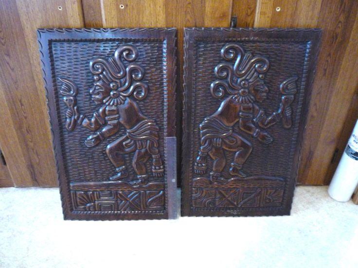 Vintage Pair 2 Honduras Mayan Aztec Wall Plaque Hand