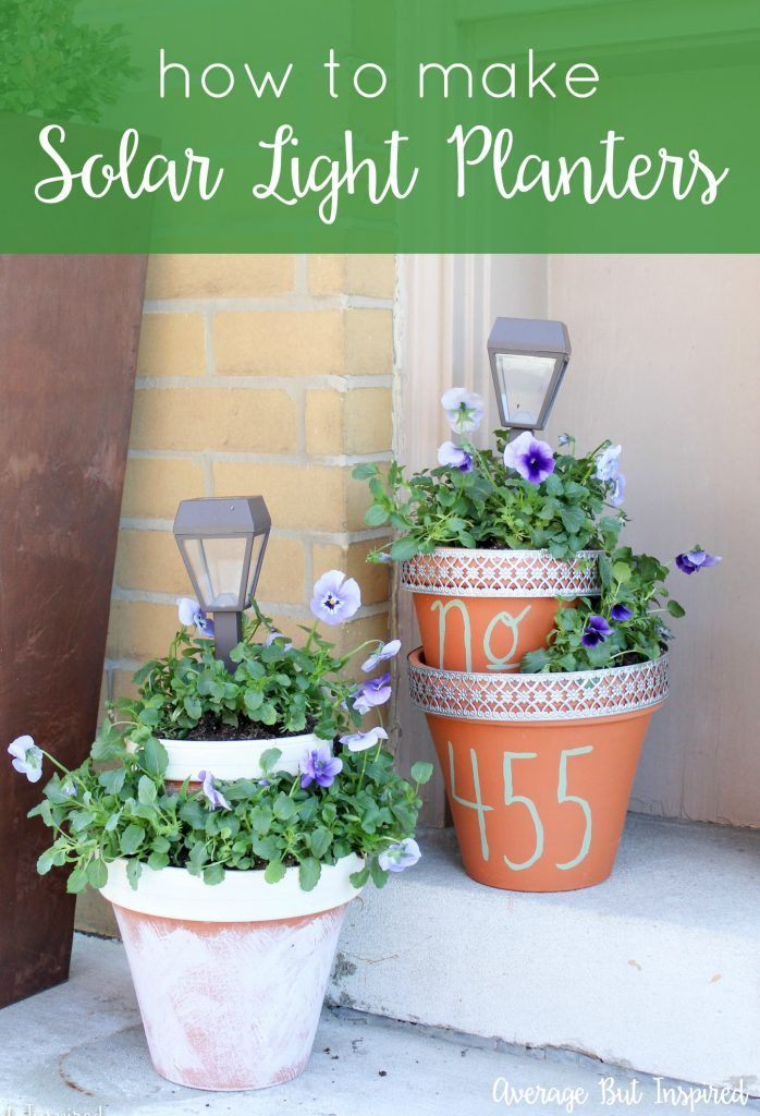 Add some height and light to your planters with these easy DIY Solar Light Planters. Get the full tutorial in this post.