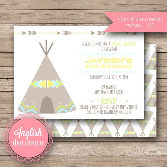 Inglish Digi Design | Printable Teepee Birthday Party Invitation, Tribal Teepee Birthday Party Invite, Teepee Party in Yellow, Lime, Turquoise