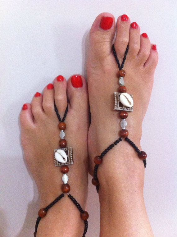 Black and brown barefoot sandal by HIPPYANNE on Etsy, $18.00
