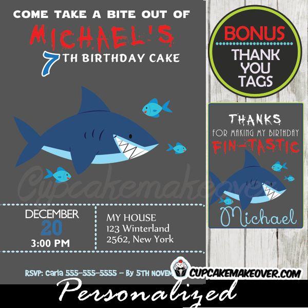 11 best shark birthday party theme invites ideas images on pinterest shark birthday invitation boys personalized filmwisefo