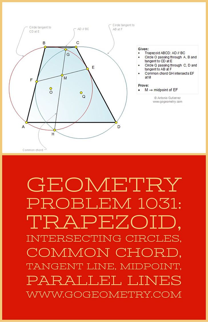 Typography of Geometry Problem 1031: Trapezoid, Intersecting Circles, Common Chord, Tangent Line, Midpoint, Parallel Lines, iPad Apps. Math Infographic, Tutor