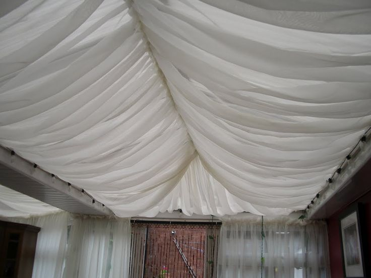 Voile Curtain attached to conservatory roof for the Moroccan tent style