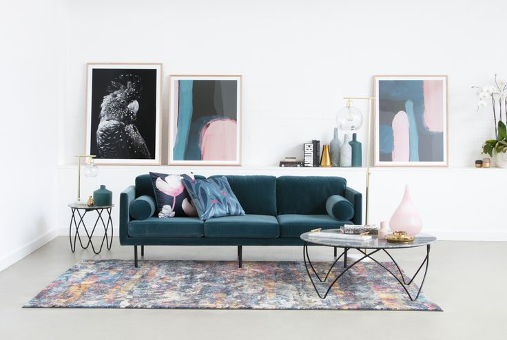 Spectre Sofa In Velvet Petrol With Hermon Coffee And Side All Homewares Are Also OZ