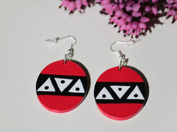 Handpainted wooden earrings with black white by DeaJewelryStore