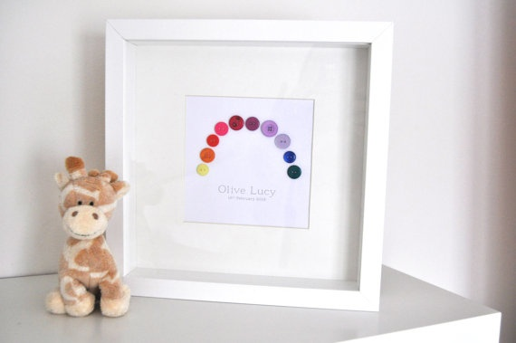 Rainbow Button Picture - Artwork or Personalised Baby Gift, Nursey, Christening