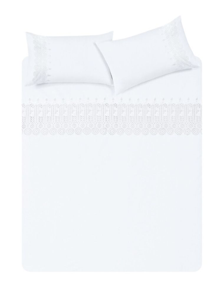Primark - White Embroidered Double Duvet Cover