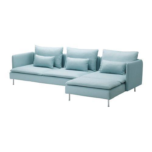 SÖDERHAMN Divano a 3 posti e chaise-longue - Isefall turchese chiaro - IKEA