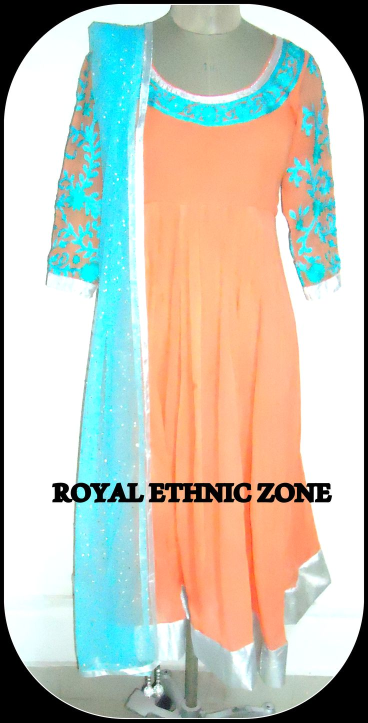 STYLE NO. REZ 231 PEACH COLOUR ANARKALI SUIT PRICE- 8000/- FABRIC- GEORGETTE , NET EMBROIDERY- THREAD WORK